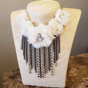 Ivory Floral Silver Fringe Statement Necklace